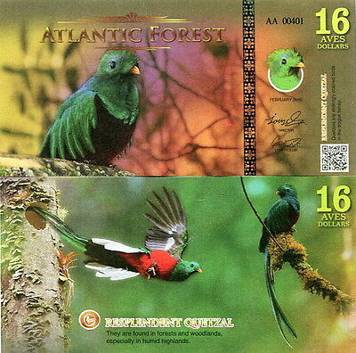 ATLANTIC FOREST - 16 aves dollars 2016 FDS UNC
