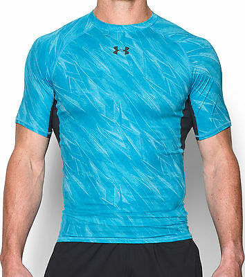 Under Armour HeatGear Printed Mens Compression Top - Blue