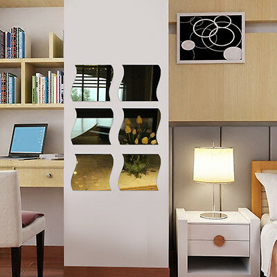 6x DIY Amovible Miroir Autocollant Maison Chambre Art Vinyl Murale Decor Decal