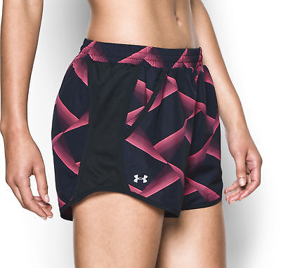 Under Armour Fly By 1.0 Printed Ladies Running Shorts - Black