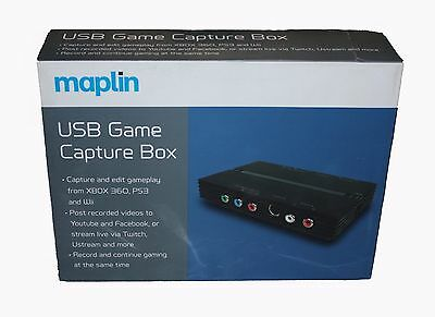 Maplin USB Game Capture Box for PS3 Xbox 360 & Wii - Bundled with Software - New