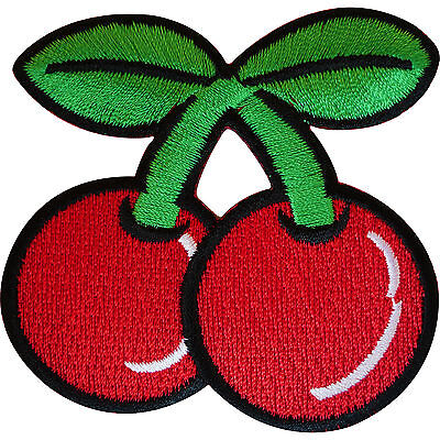 Embroidered Iron On Red Cherry Patch Sew On Badge Embroidery Biker Rockabilly
