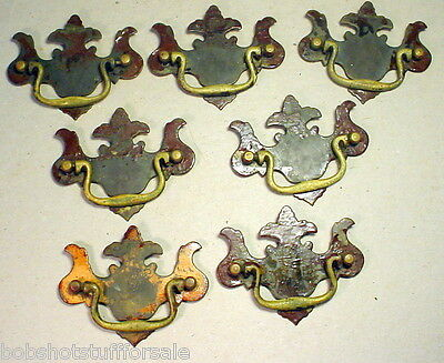 "Matching Set of 7 Antique Brass Shabby 3"" Center Drawer Pull Handle Chippendale"