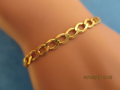 """7.5""""+ CURB LINK BRACELET in Solid (not Hollow)  9CT GOLD  FULL UK HALLMARK"""