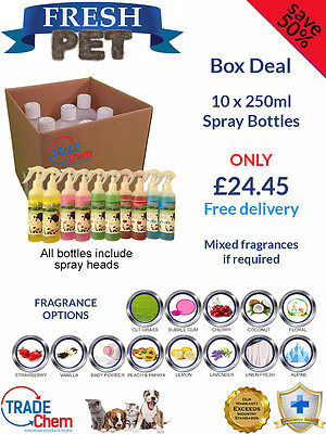 10 PACK - FRESH PET 250ML SPRAY - Kennel/Cattery Disinfectant and Deodoriser