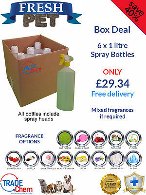 6 PACK FRESH PET 1L SPRAY BOX DEAL - Kennel/Cattery Disinfectant and Deodoriser
