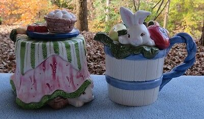 Fitz & Floyd Bunny Rabbit Tea Party Creamer and Covered Sugar Set w Spoon