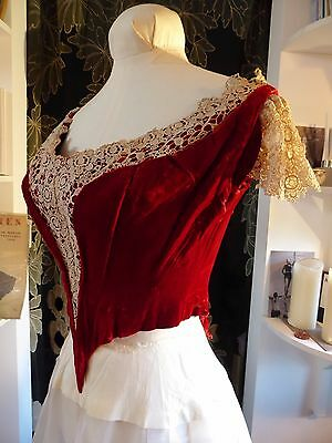 RARE Original Victorian Red Silk Velvet + Cream Lace Bodice - French - Small