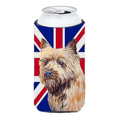 Cairn Terrier With English Union Jack British Flag Tall Boy bottle sleeve Hug...