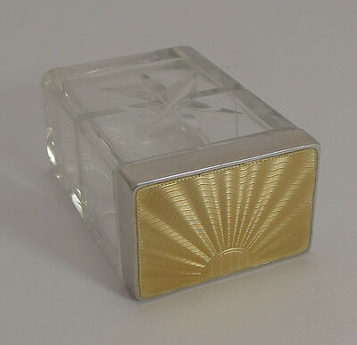 Top Quality English Cut Crystal and Sterling Silver Q-Tip Box - 1933