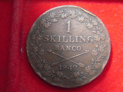 1842 One Skilling Coin From Denmark From My Collection D54