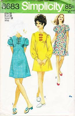 ~ Vintage Simplicity Sewing Pattern 8683 Misses 70's Dress  S 16~