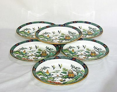 """(6) Royal Crown Staffordshire Chinese Willow Bread  Plate Plates 6 1/2"""""""