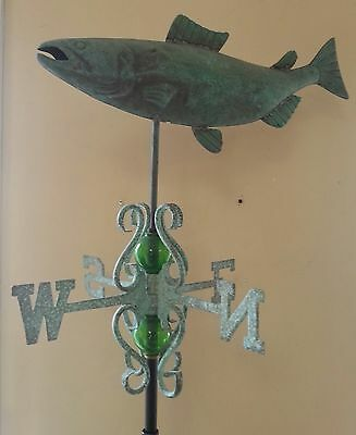 Beautiful antique finish COPPER FULL BODY FISH  weathervane complete,dent / side