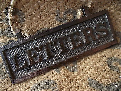 Vintage Letters Sign flap box old iron plaque post mail slot door industrial