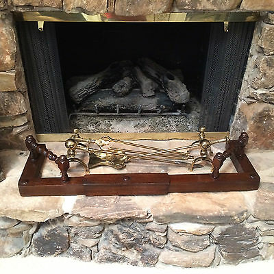 Antique Vintage Oak Barley Twist Hearth Fireplace Fender Expandable Guard