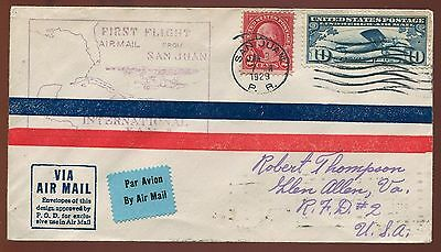 1929 FAM #F6-7 First Flight Cover Cancelled San Juan with C10 Lindbergh PH227