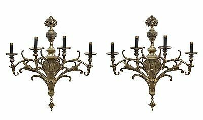 Pair of Ornate Gold Bronze Four Arm Sconces