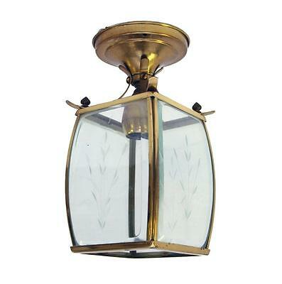 Square Gold Brass Light Fixture with Etched Glass