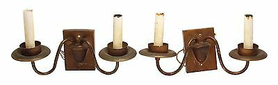 Pair of Brown Copper Two Arm Sconces