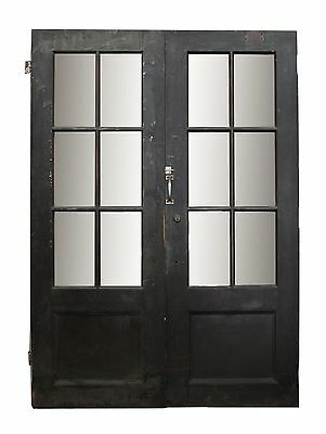 Pair of Old Wood Doors With Six Glass Panels