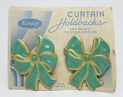 Pair of Olde New Stock Green & Gold Bow Curtain Holdbacks