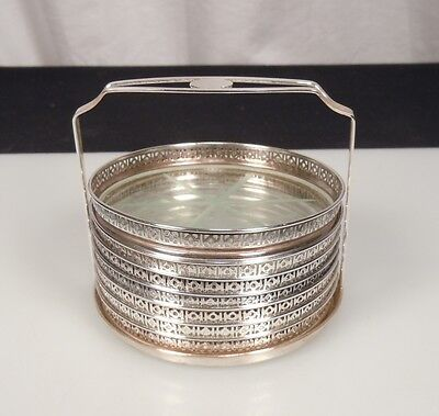 Webster Sterling Silver Glass Coasters w/ Caddy - set of 7