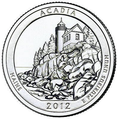 2012 P Acadia Maine America the Beautiful BU Quarter from US Mint Roll