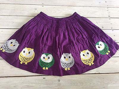 Mini Boden 5 6 Y Girl's Skirt Fully Lined Purple Owls Embroidered Applique