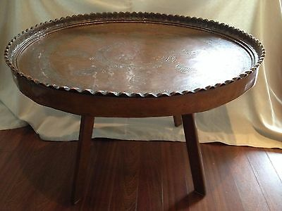 Antique Maroccan hand made copper tray table