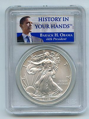 2009 American Silver Eagle PCGS History in Your Hands Obama