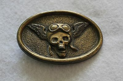 VINTAGE 1970s **WINGED SKULL - BELT BUCKLE