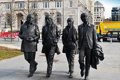 Beatles statue. The Fab 4, Pier Head, Liverpool - 6x4 postcard