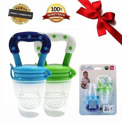 Tinabless Baby Food Feeder Teether Nibbler 2Pcs with Clip for Boys M