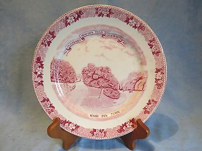 "Vintage Red Transfer Old English Staffordshire Mohawk Trail Souvenir 7"" Plate"
