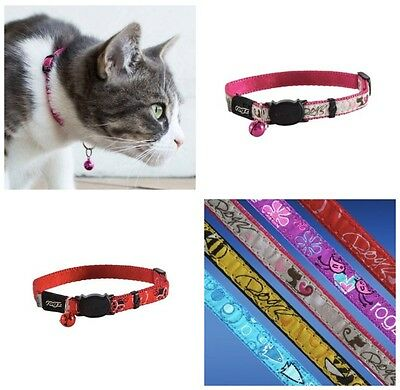 Rogz Glory Breakaway Buckle Collar Fancycat, Pink, Red Or Yellow Cat Collar