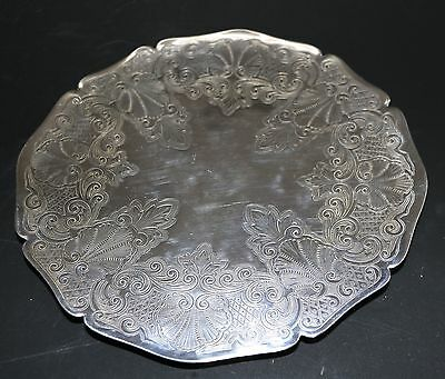 Vintage Epns Silver Plated Ornate Round Footed Cake Stand Dish - England