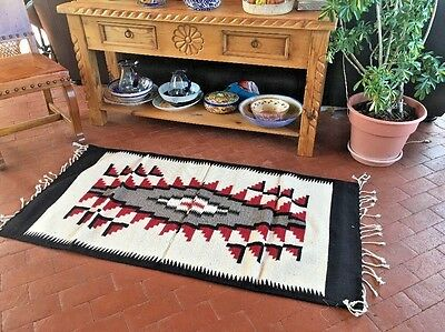 Zapotec Native Mexican Hand Woven 100% Wool Traditional Rug  32 X 64   N1