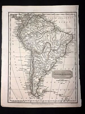 Kelly 1818 Antique Map. South America