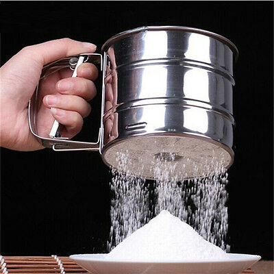 New Stainless Steel Mesh Flour Sifter Baking Icing Sugar Shaker Tool Cup Shape