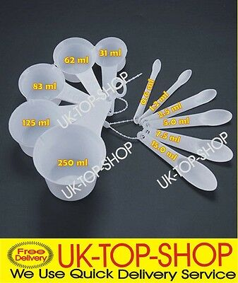 11 Pc Chef Aid White Measuring Spoons & Cups Kitchen Cooking Baking New Set