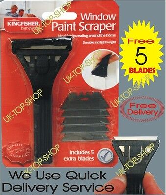Scraper Glass Tile And Metal Window Sticker Paint Remover With 6 Blades New
