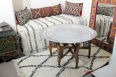 Moroccan Vintage Aluminium Tray 86 cm or Table with Brown Cedar Wood Legs AT18