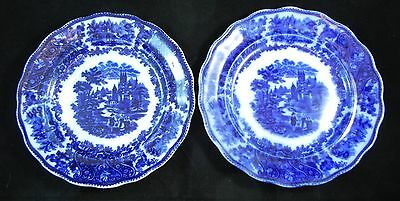 Pair of Middleport Pottery Burgess & Leigh Nonpareil Flow Blue Dinner Plates