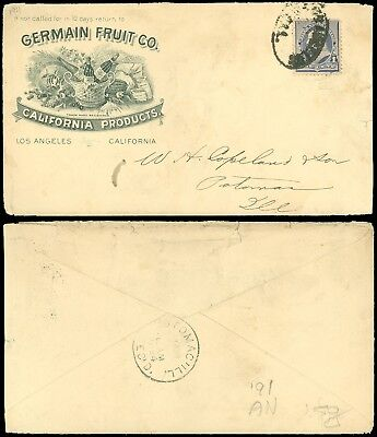 1894c L.A. CA, GERMAN FRUIT CO. Illustrated PORT, WINE, SEEDS GRAPES, SC #219!