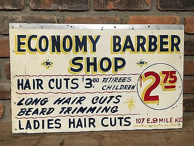 "Original ""Economy Barber Shop"" Sign Hair Cut Vintage Old Detroit Double Sided"