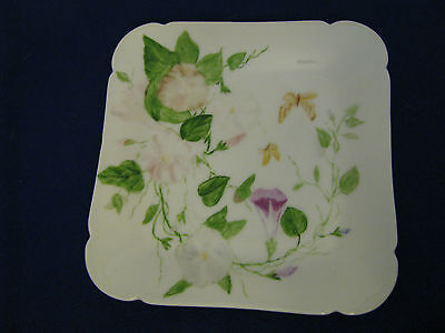 """CFH GDM Handpainted  Square  Plate Floral 7"""""""