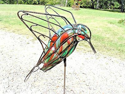 LARGE Glass Hummingbird Garden stake Iron Art