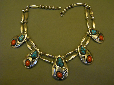 Turquoise coral sterling silver shadowbox necklace 17 1/2""