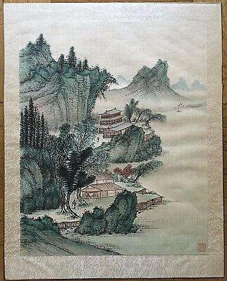 Antique / Vintage Chinese Landscape Watercolor Painting On Silk, Red Sealed